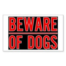 Beware of Dogs(Black) Rectangle Decal