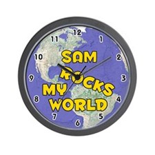 Sam Rocks My World (Gold) Wall Clock