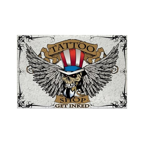 Tatto Shop(White) Sign Rectangle Magnet