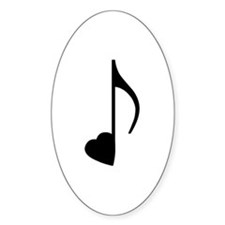 Black Eighth Love Note Oval Decal