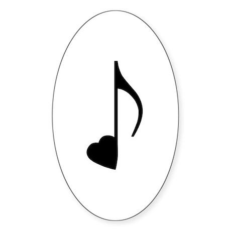 Black Eighth Love Note Oval Sticker