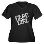 Nerd Girl Women's Plus Size V-Neck Dark T-Shirt