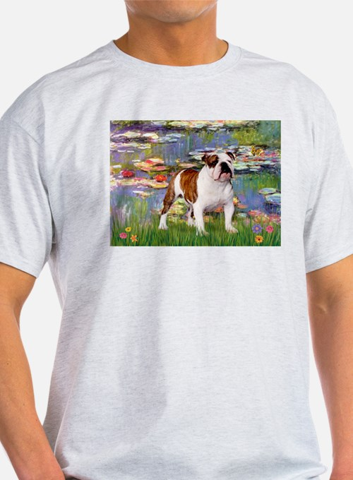 Lilies & French Bulldog Ash Grey T-Shirt