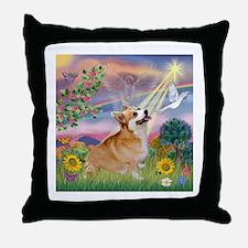 Cloud Angel Welsh Corgi Throw Pillow