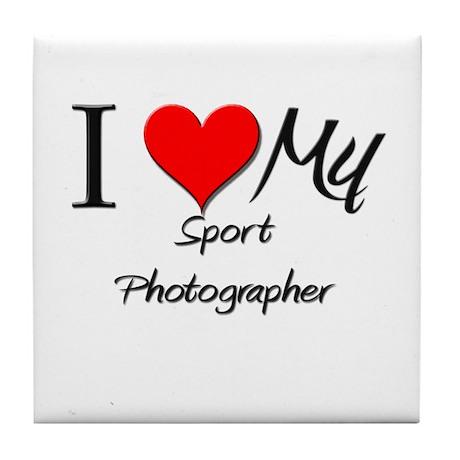 I Heart My Sport Photographer Tile Coaster