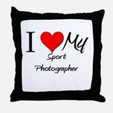 I Heart My Sport Photographer Throw Pillow