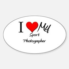 I Heart My Sport Photographer Oval Decal