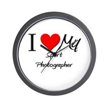 I Heart My Sport Photographer Wall Clock