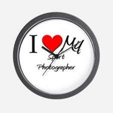 I Heart My Sport Photographer Wall Clock