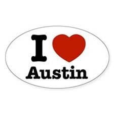 I love Austin Oval Decal