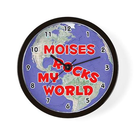 Moises Rocks My World (Red) Wall Clock