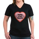 PapPap is My Valentine Women's V-Neck Dark T-Shirt