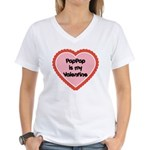 PapPap is My Valentine Women's V-Neck T-Shirt