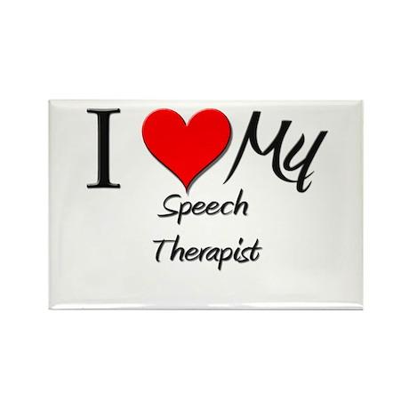 I Heart My Speech Therapist Rectangle Magnet