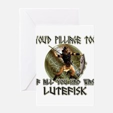 Lutefisk viking humor Greeting Card
