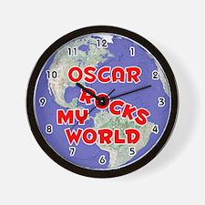 Oscar Rocks My World (Red) Wall Clock