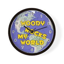 Woody Rocks My World (Gold) Wall Clock