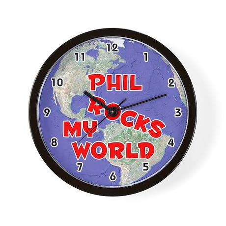Phil Rocks My World (Red) Wall Clock