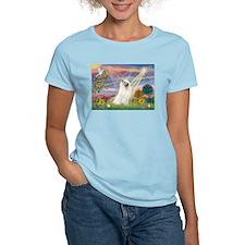 Cloud Angel & Samoyed Women's Pink T-Shirt