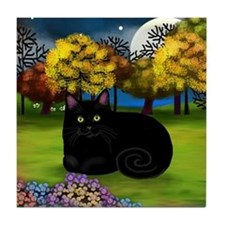 BLACK CAT FALL MOON Tile Coaster