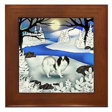 Japanese Chin Dog Frozen River Framed Tile