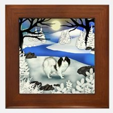 Japanese Chin Dog Frozen River Framed Tile