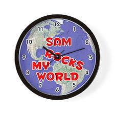 Sam Rocks My World (Red) Wall Clock