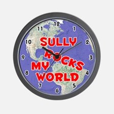 Sully Rocks My World (Red) Wall Clock