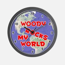 Woody Rocks My World (Red) Wall Clock