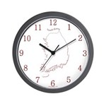 South Korea Map Wall Clock (Red)