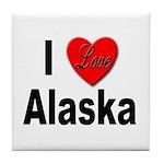 I Love Alaska Tile Coaster