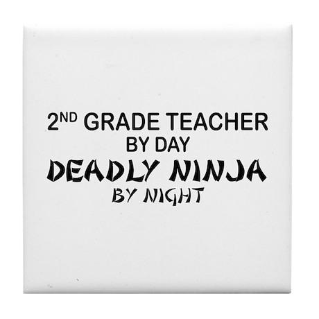 2nd Grade Teacher Deadly Ninja Tile Coaster