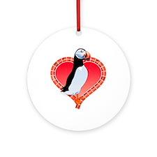 Valentine's Day Puffin Red Ornament (Round)