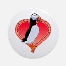 Valentine's Day Puffin Red Ornament (Round)