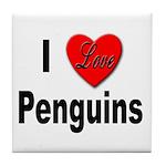 I Love Penguins for Penguin Lovers Tile Coaster