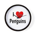 I Love Penguins for Penguin Lovers Wall Clock