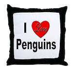 I Love Penguins for Penguin Lovers Throw Pillow
