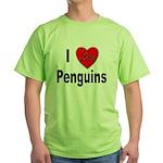 I Love Penguins for Penguin Lovers Green T-Shirt
