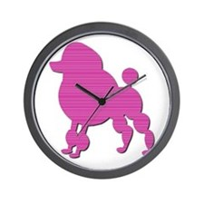 Retro Pink Poodle Wall Clock