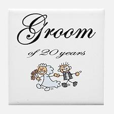 20th Wedding Anniversary Groom Tile Coaster