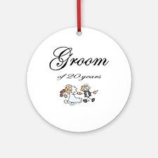 20th Wedding Anniversary Groom Ornament (Round)