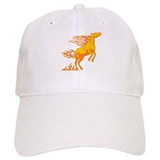 Orange Horse Flames Baseball Cap