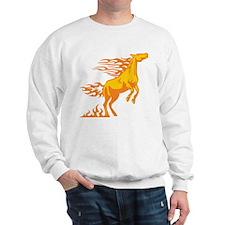 Orange Horse Flames Sweatshirt