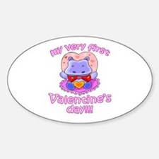 First Valentine's Day Hippo Oval Decal