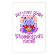 First Valentine's Day Hippo Postcards (Package of