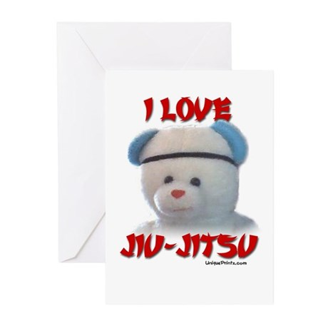 I LOVE JIU-JITSU (TEDDY BEAR) Greeting Cards (Pk o