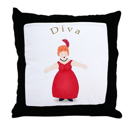 Redhead Diva in Red Dress Throw Pillow