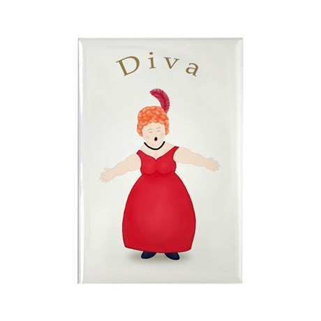 Redhead Diva in Red Dress Rectangle Magnet