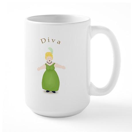 Blond Diva in Green Dress Large Mug