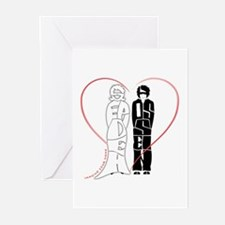 Sepideh and Hossein in red heart Greeting Cards (P